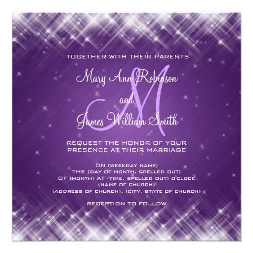 Elegant Purple Wedding Invitations: Elegant Wedding Glamorous Sparks Purple Personalized