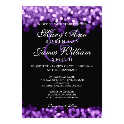 Elegant Purple Wedding Invitations: Elegant Wedding Purple Lights Custom Invites