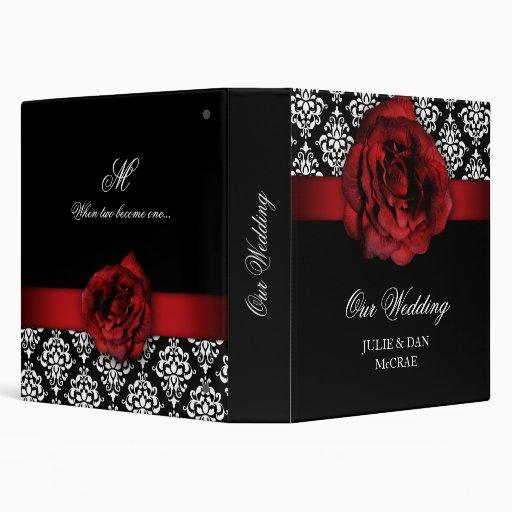 Elegant Wedding Red Rose Damask Red Black White Vinyl
