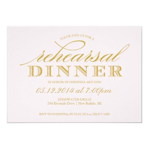 Wedding Rehearsal Invitations: Elegant Wedding Rehearsal Dinner Invitation