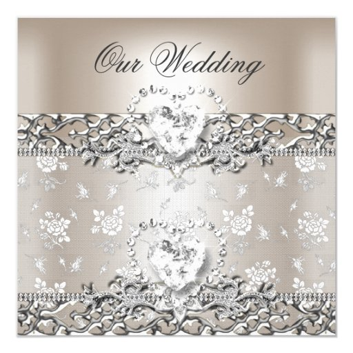 Diamond Wedding Invitation Label: Elegant Wedding Silver Cream Diamond Heart Card