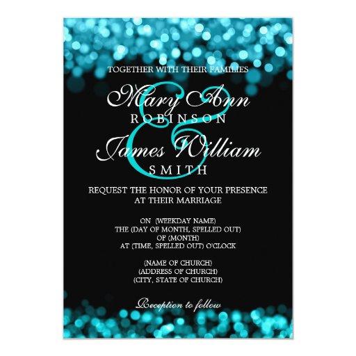Elegant Wedding Turquoise Lights Invitation