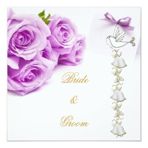 Elegant Wedding Bells: Elegant Wedding White Purple Roses Dove Bells Card