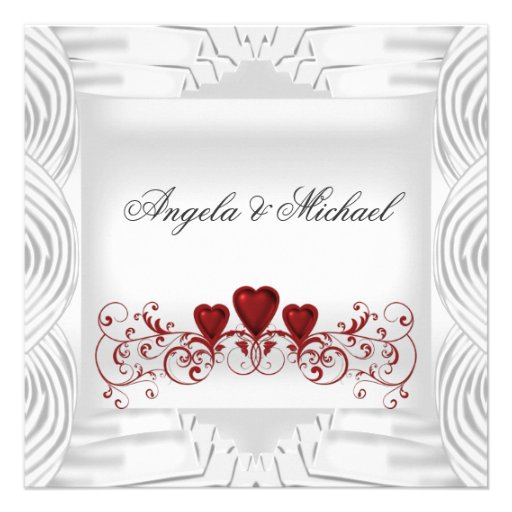 """When Should Wedding Invitations Be Ordered: Elegant White Red Hearts Wedding Invitation 5.25"""" Square"""