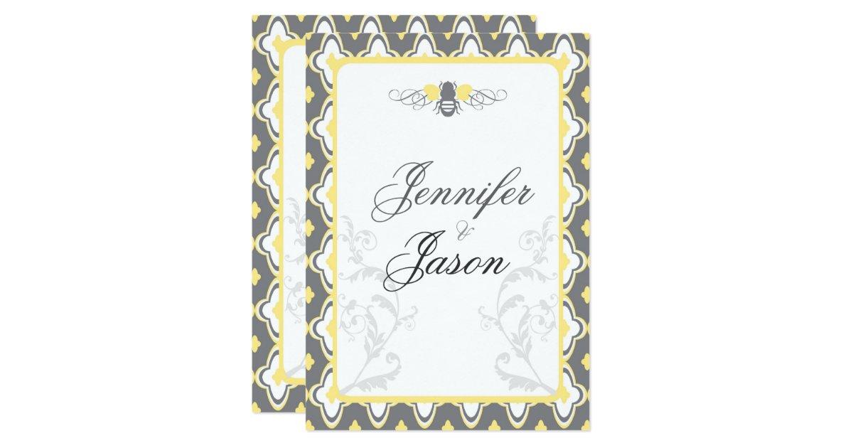Yellow Grey Wedding Invitations: Elegant Yellow & Gray Garden Wedding Invitations
