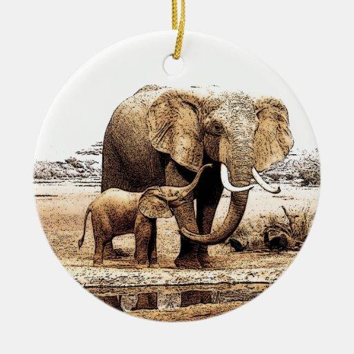 Elephant Amp Baby Elephant Christmas Ornament Zazzle
