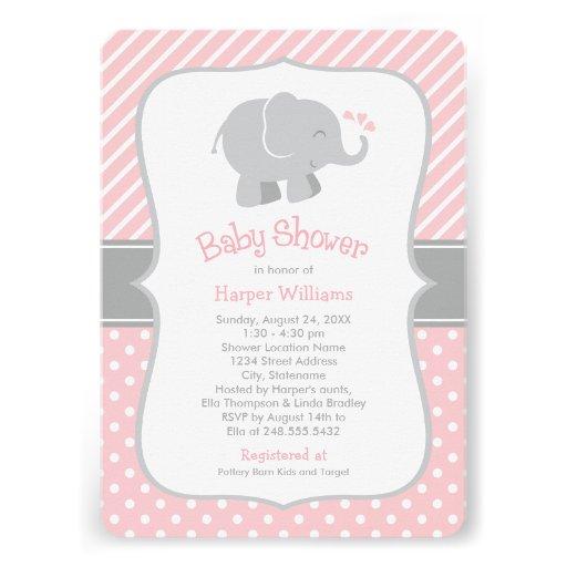 Gianna S Pink And Gray Elephant Nursery Reveal: Elephant Baby Shower Invitations