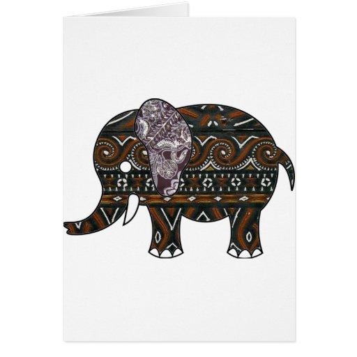 Elephant Batik Graphic Art Card