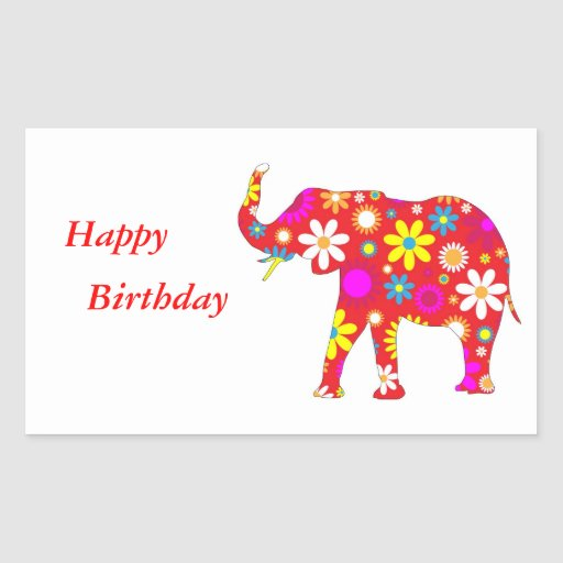 Elephant Funky Floral Fun Happy Birthday Stickers
