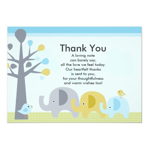 "Thank You Quotes For Baby Gift: Elephant Love Baby Shower Thank You Card 5"" X 7"