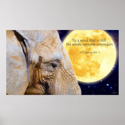 Elephant, Moon & Wisdom Quote Motivational Poster | Zazzle