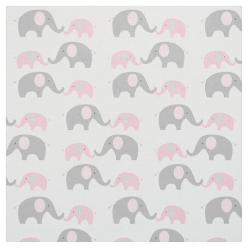20 Gray And Yellow Nursery Designs With Refreshing Elegance: Elephant Nursery Fabric Pink & Grey