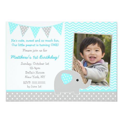 Personalized Baby Elephant Birthday Invitations