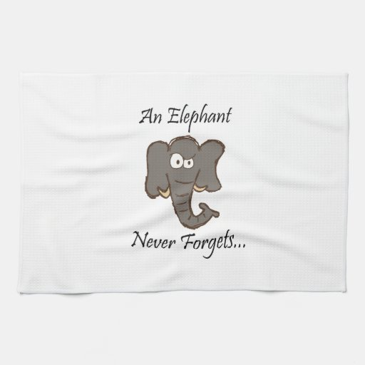 elephants never forget kitchen towels zazzle. Black Bedroom Furniture Sets. Home Design Ideas