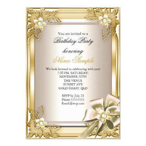elite elegant birthday party gold cream bow l card zazzle. Black Bedroom Furniture Sets. Home Design Ideas