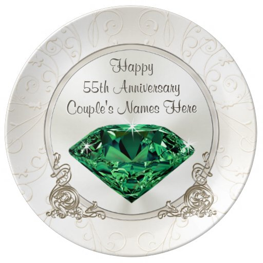 Emerald Wedding Anniversary Gifts: Emerald Happy 55th Anniversary Gifts PERSONALIZED Plate
