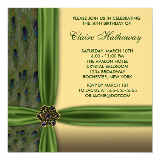 Personalized Emerald Green Birthday Party Invitations