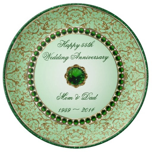 Emerald Wedding Anniversary Gifts: Emerald Wedding Anniversary Porcelain Plate