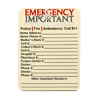 important numbers template - emergency numbers magnets emergency numbers magnet