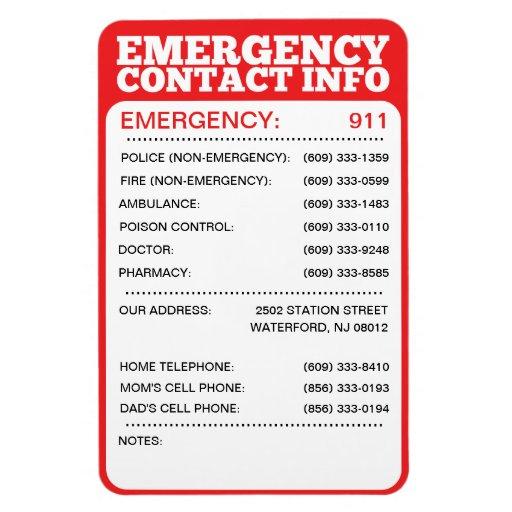 Emergency Contact Information List Rectangular Photo
