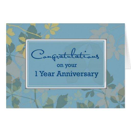 Employee 1 Year Anniversary, Congratulations Greeting Card