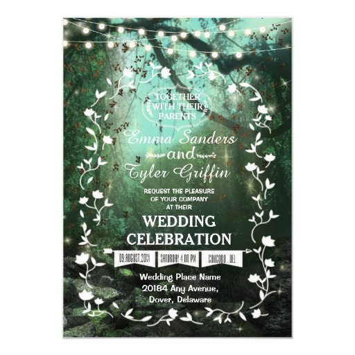 Forest Themed Wedding Invitations: Enchanted Forest Lights Rustic Wedding Invitation