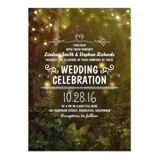 Forest Themed Wedding Invitations: Enchanted Forest String Lights Wedding Invitations