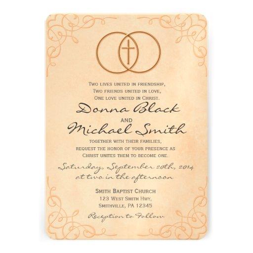 "Christian Wording For Wedding Invitations: Encircled Cross Religious Wedding Invitations 5"" X 7"