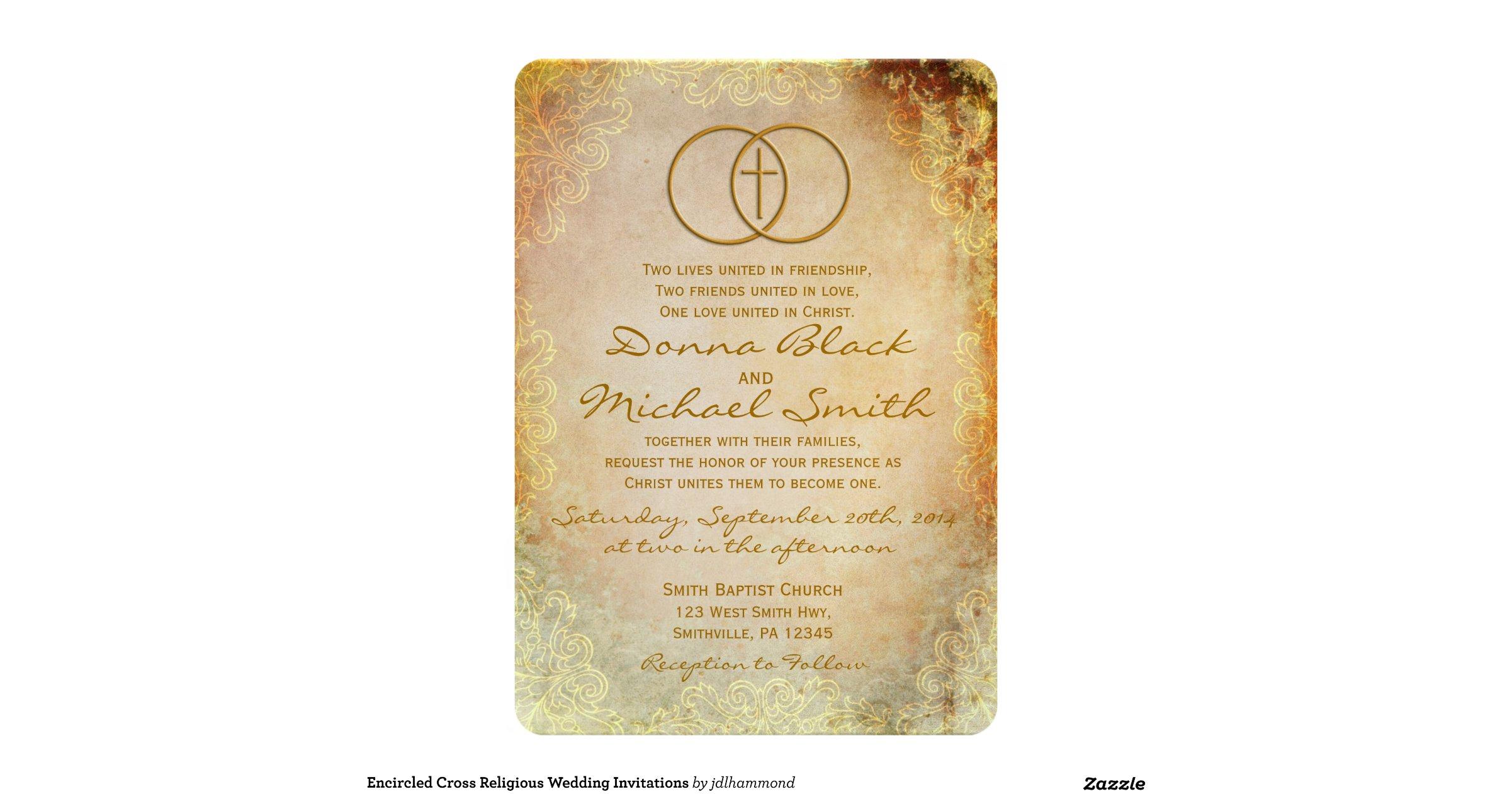 Religious Wedding Invitation Wording: Encircled_cross_religious_wedding_invitations