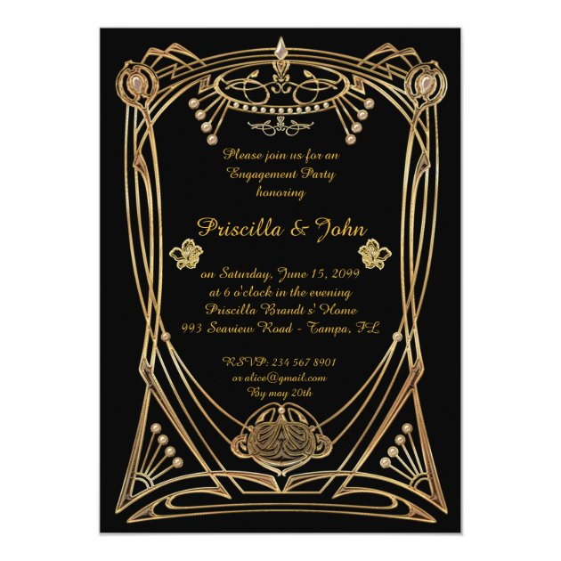 Engagement Party Great Gatsby Art Deco Black Card