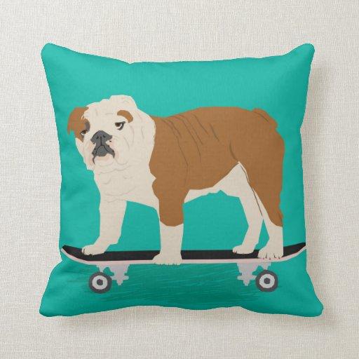 English Bulldog Skateboard Pillow Zazzle