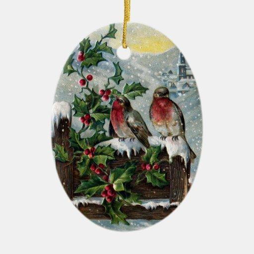 English Robins On A Fence Vintage Christmas Christmas Tree