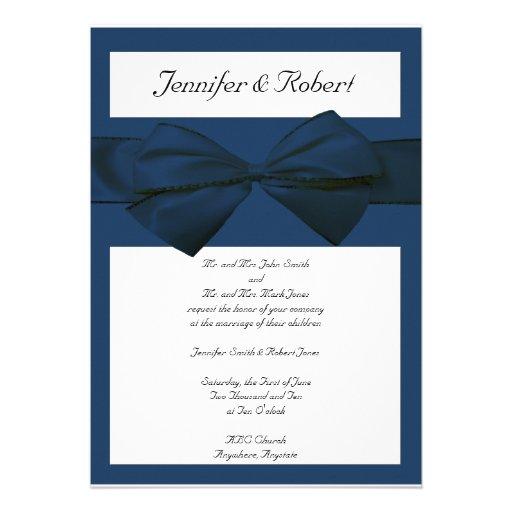 "Marine Wedding Invitations: Estate Collection Marine Blue Wedding Invitation 5"" X 7"