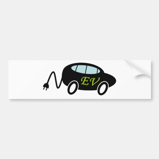 Ev Car And Plug Bumper Sticker Zazzle