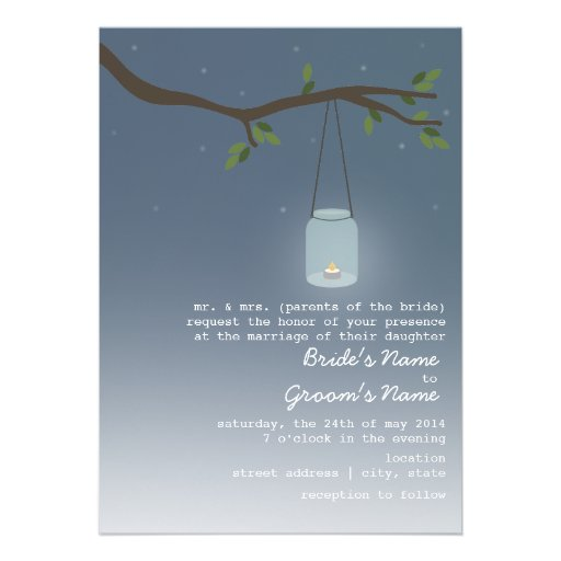 "Candlelight Wedding Invitations: Mason Jar With Candle 5"" X 7"" Invitation"