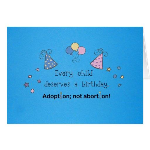 Every Child Deserves A Birthday. Adoption, Card