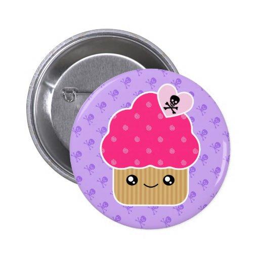 Evil Cute Cupcake Of Death Kawaii Button Badge | Zazzle