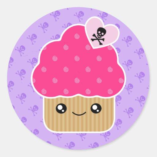 Evil Cute Kawaii Cupcake Of Death Stickers | Zazzle