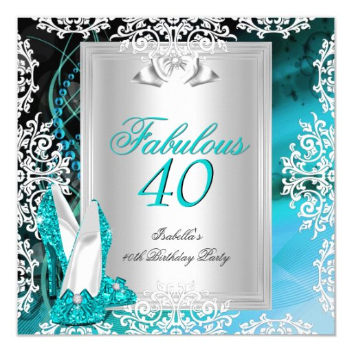 Fabulous 40 40th Birthday Party Blue Teal Shoes 2