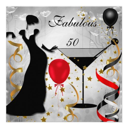Fab 50 Birthday: Fabulous 50 50th Birthday Party Deco Lady Red 2 5.25x5.25