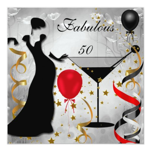 Silhouette Fifty Fab Woman: Fabulous 50 50th Birthday Party Deco Lady Red 2