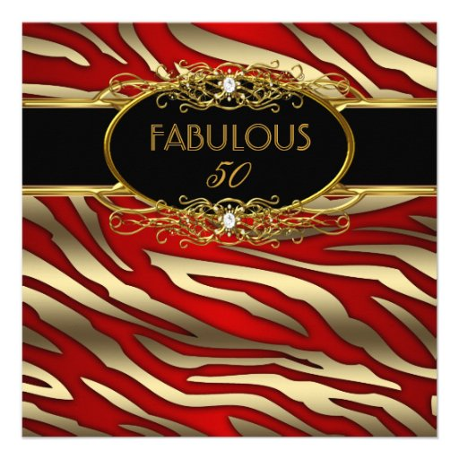 Fab 50 People: Fabulous 50 50th Birthday Party Gold Zebra RED