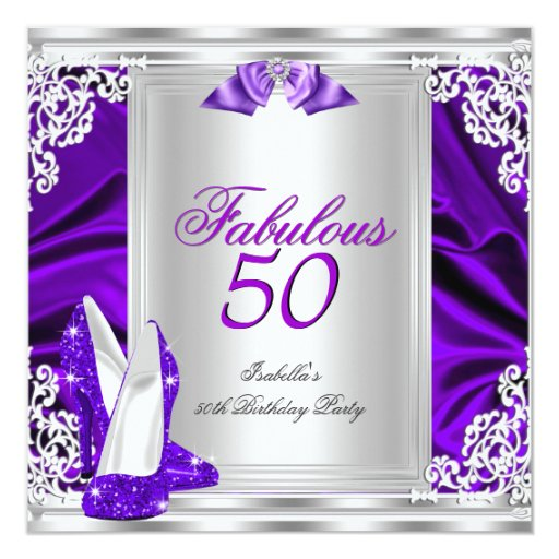 Fab 50 People: Fabulous 50 50th Birthday Party Purple Shoes Invitation