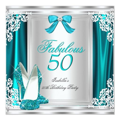 Fab 50 People: Fabulous 50 50th Birthday Party Teal Shoes Card
