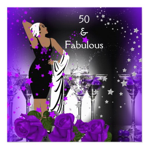Fab 50 People: Fabulous 50 50th Birthday Purple Roses Martini 5.25x5.25