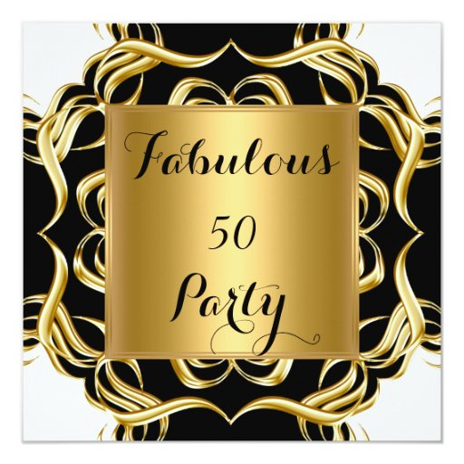 Fab 50 People: Fabulous 50 Black White Gold Birthday Party Card
