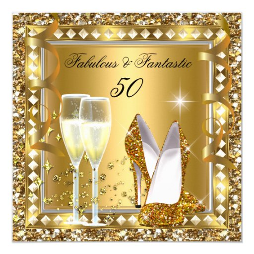 Fab 50 People: Fabulous 50 & Fantastic Gold Glam Silver Birthday Card