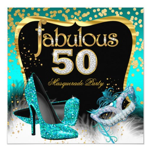 50 Fab Summer Finds Under 50: Fabulous 50 Masquerade Party Teal Gold Card