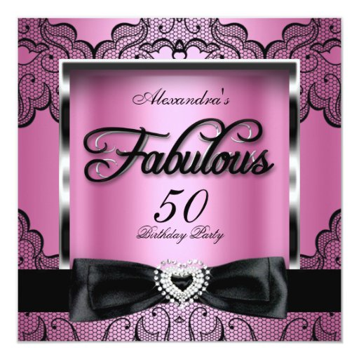 50 And Fabulous Text: Fabulous 50 Party Pink Damask Black Lace Card