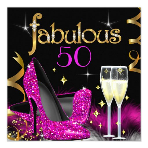 Fab 50 People: Fabulous 50 Party Pink High Heels Gold Black Invitation